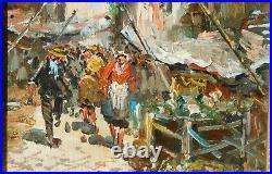 Vintage street scene, signed mystery artist, oil/canvas thick impasto