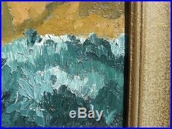 Vintage surrealist modernist landscape oil painting signed Hicks