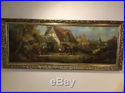 Vintage very large gilt framed oilograph signed painting