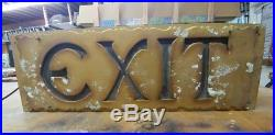 Vtg 1927 Huge Lighted EXIT SIGN 9×26 ORPHEUM THEATER SEATTLE Orig Glass&Paint