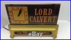 Vtg 1940's Lord Calvert Whiskey Art Deco Lighted Reverse Paint Glass Bar Sign