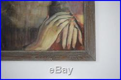 Vtg 1954 Signed Oil Pastel Drawing Painting Mid Century Modern Portrait Art 28