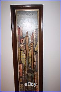 Vtg 1960's Mid Century Modern Artist Signed Painting Cityscape 65.5H x 17.25W