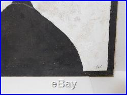 Vtg 1970s Acrylic Canvas Signed Painting Pop Art Mid Century Modern Black/White