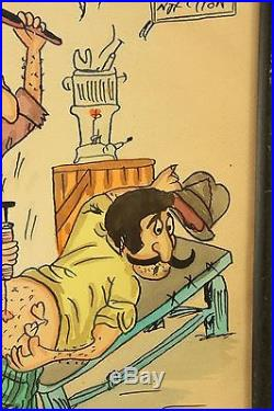 Vtg 1973 Persian Humor Iran Comic Watercolor Painting Tattoo Art Hayro Signed