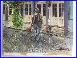 Vtg 1977 Impressionist New Orleans Artist Old Man Orig Watercolor SIGNED Stuart