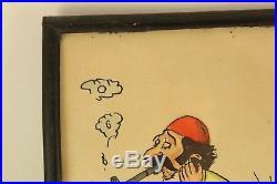 Vtg 1977 Persian Humor Iran Comic Watercolor Painting Bathroom Art Hayro Signed