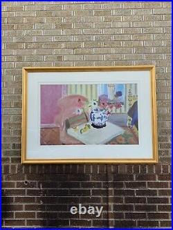 Vtg 37x52 Henri Matisse Framed Poster Print Flower And Vase Painting Lithograph