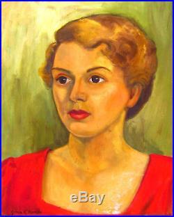 Vtg 40s 50s Mid-Century Framed Painting Woman Portrait Signed Grmia K. Martin