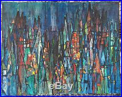 Vtg 60s Abstract Expressionist Oil Painting Retro Art Mid Century Modern Signed