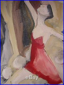 Vtg Abstract Figural Expressionist Oil Painting Mid Century Signed 1970's 40