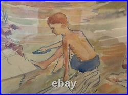 Vtg Antique Mary Hallett Gronemeyer Signed Watercolor Painting 2 Boys Landscape