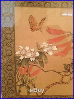 Vtg Asian Chinese Signed Painting on Silk of Butterfly & Flowers Bamboo Frame