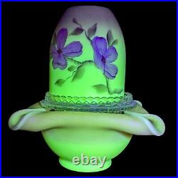 Vtg Burmese Satin Glass Hand Painted 3 Piece Fairy Courting Lamp UV Glow Signed