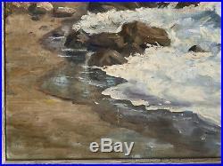 Vtg California Coastal Seascape Ocean Beach Painting Plein Air Impressionism MCM