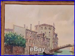 Vtg Italian Oil on Canvas Painting Venice Lover's Bridge 33 x 56 Signed Art