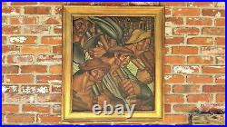 Vtg Latin American Cuban WPA Style Oil Painting Workers Signed C. Rodriguez 1939