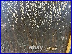 Vtg Letterman Mid Century Modern Painting print wall art sunburst sun grass
