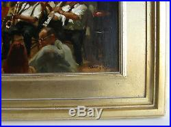 Vtg Listed Artist Elaine Coffee Preservation Hall Jazz Musicians Painting SIGNED