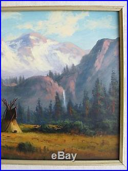 Vtg Listed Artist Heinie Hartwig Indians Teepees Mountain Orig Painting SIGNED