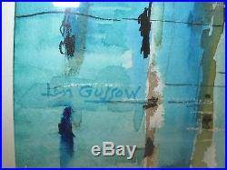 Vtg MID Century Modern Abstract Painting Cottage Blue Green Signed L Gussow 60's