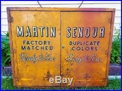 Vtg Martin Senour Paints Auto Gas & Oil Service Station Advertising Sign Cabinet
