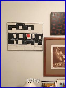 Vtg Mid Century Abstract Geometric Black, White & Red Painting Signed Dated