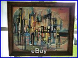 Vtg Mid-Century Cityscape Modernist Brutalist Abstract Painting Signed 1950s 60s