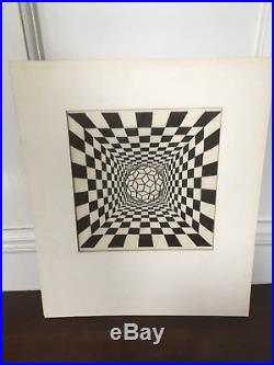 Vtg Mid Century Modern Abstract Black & White Print LITHOGRAPH Signed Dated