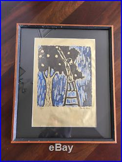 Vtg Mid Century Modern Abstract Gold Orchard Apple Tree Artwork Print Signed