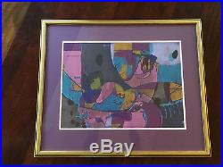 Vtg Mid Century Modern Bold Abstract Print Painting Lithograph Signed