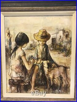 Vtg Mid Century Modern French Jacques Lalande Signed Painting Boy & Girl with Dog