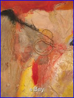 Vtg Mid Century Modern Large Abstract Oil Acrylic Mixed Media Painting Signed