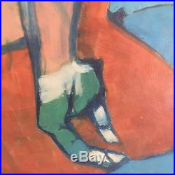 Vtg Mid Century Modern Large Blue Green Abstract Nude Woman Oil Painting- Signed