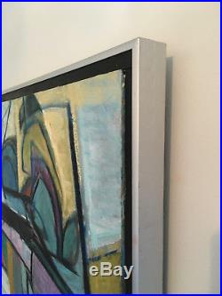 Vtg Mid Century Modern Large Original Abstract Oil Painting On Canvas Signed