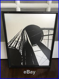 Vtg Mid Century Modern Pop Art Abstract Water Tower Print Lithograph Signed