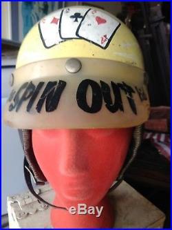 Vtg Motorcycle Racing Helmet Custom Paint Calif Artist Signed SPIN OUT KID