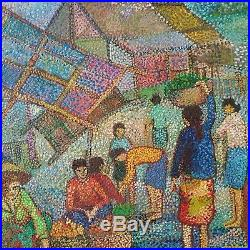 Vtg Oil Painting Canvas Dot Village Japanese Chinese Korean Signed Abstract
