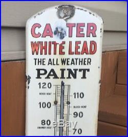 Vtg. Orig. Carter White Lead Paint Thermometer Porcelain Enameled 27 Sign 1915
