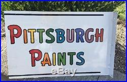 Vtg. OriginalPittsburgh PaintsDouble Sided Porcelain Flange SignCountry Store