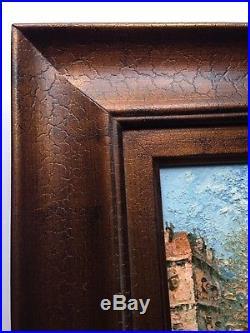Vtg Original Signed W. Burnett Paris Street Scene Impasto Oil Painting Framed