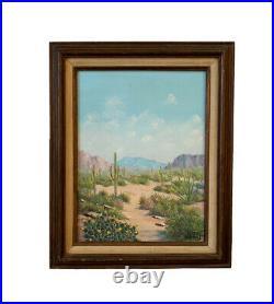 Vtg Painting Desert Landscape Arizona Mountain Saguaro Western Margee Shepard
