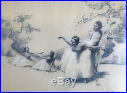 Vtg Pastel Painting Ballerinas Dancers Signed August von Munchhausen Listed Frmd