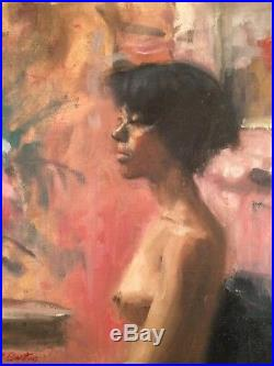 Vtg Portrait Oil Painting on Canvas. Young Black Woman Seated in Chair Signed