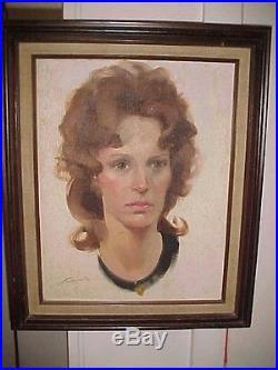 Vtg Portrait Painting SIGNED by Artist John Howard Sanden Oppenheim Art Class NY