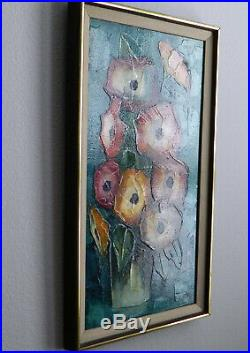 Vtg ROBERTA FERRIS Mid-Century Modern MCM Abstract Painting Flowers, Signed