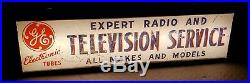 Vtg Reverse Painted Glass Lighted GE Electronic Tubes Advertising Sign c1940's