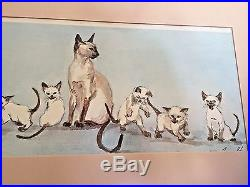 Vtg. Siamese Cat Family The Family Picture Watercolor Print By Joyce Stone 1980