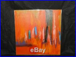Vtg Signed ETTA Oil on Canvas Abstract Expressionism Mid Century Modern Painting