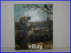 Vtg Signed Nagy Attila Dachshund Dog Blue Bird Ranch Oil Painting Canvas 24x20